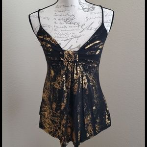 Black and foil gold slinky tank top Small